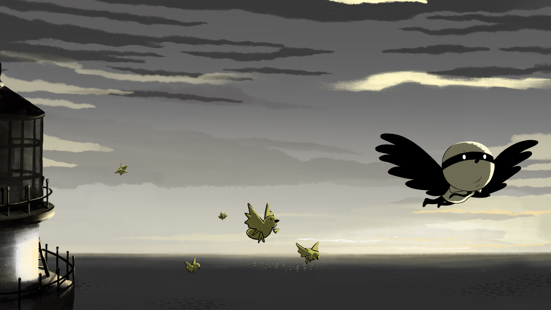 Bird flies through the air in Birdboy