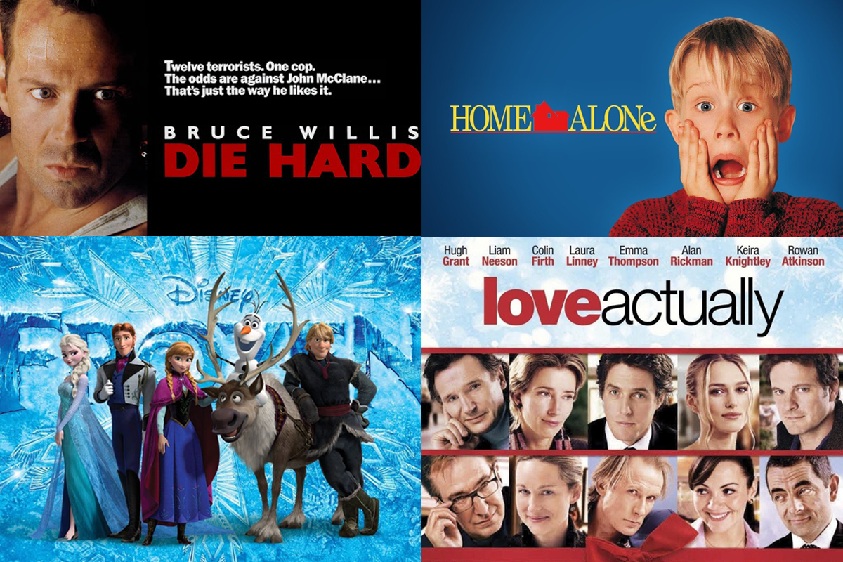 Christmas Movie Title posters in a collage, Home Alone, Die Hard, Love Actually and Frozen