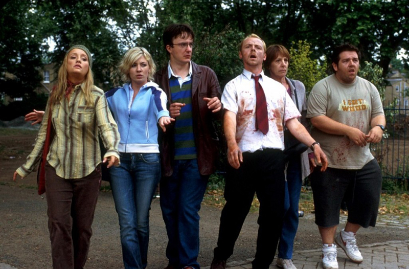 Shaun of the Dead still featuring Lucy Davis, Kate Ashfield, Dylan Moran, Simon Pegg, Penelope Wilton and Nick Frost