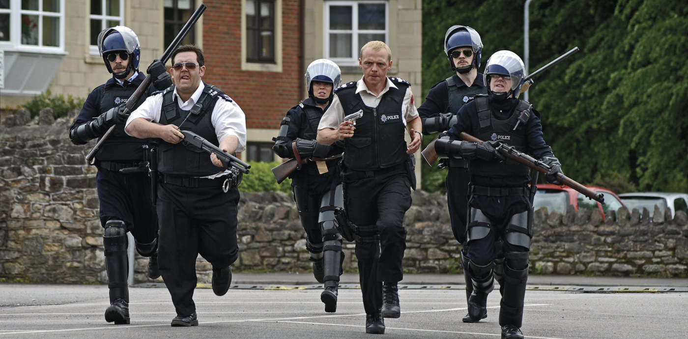 Hot Fuzz still featuring Paddy Considine, Nick Frost, Olivia Colman and Simon Pegg