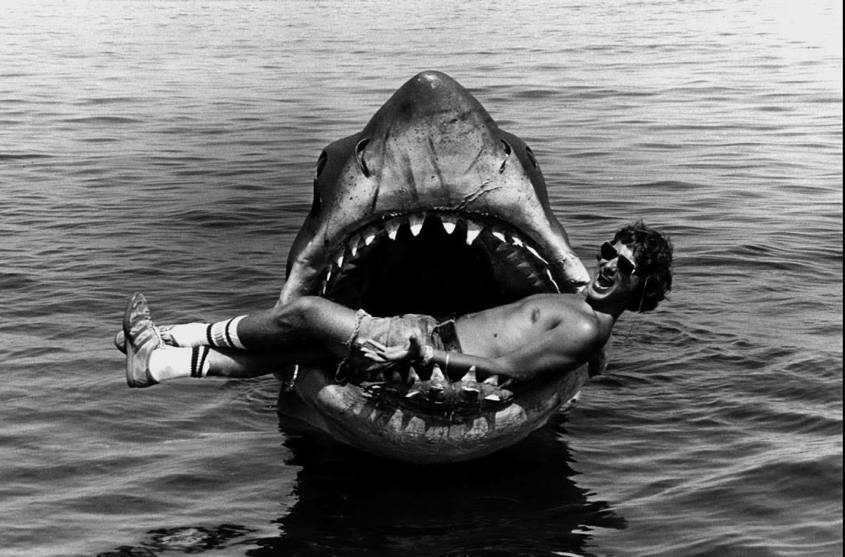 Steven Spielberg in a shark's jaws